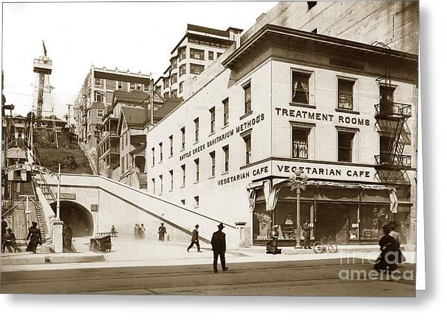 1907 Greeting Cards - Angels Flight Railway Los Angeles California  circa 1908 Greeting Card by California Views Mr Pat Hathaway Archives