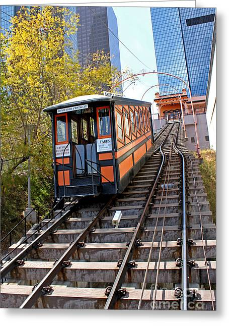 Angels Flight Railway Greeting Card by Gregory Dyer