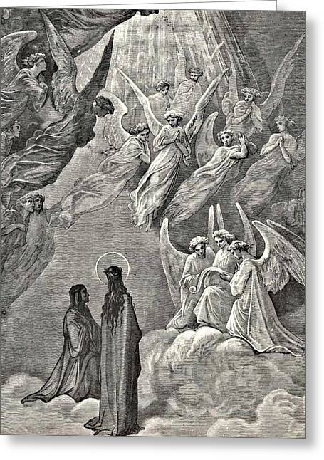 Divine Comedy Greeting Cards - Angels in Heaven Dantes Divine Comedy Illustration Greeting Card by