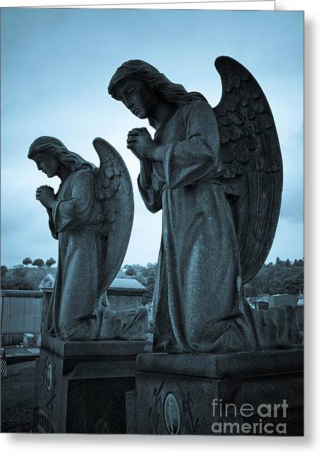 Afterlife Greeting Cards - Angels in Prayer Greeting Card by Amy Cicconi