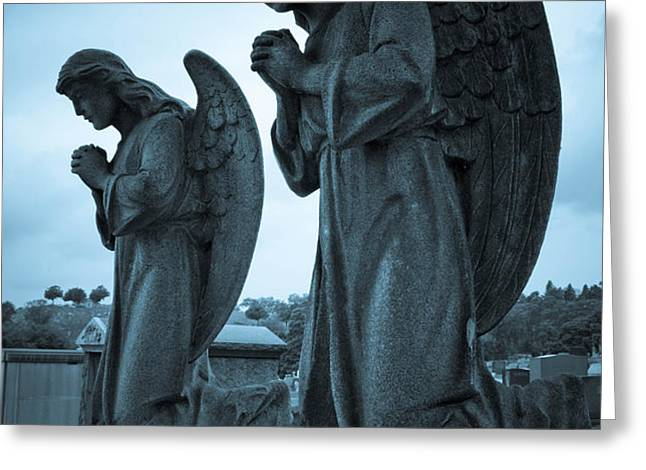 Angels in Prayer Greeting Card by Amy Cicconi