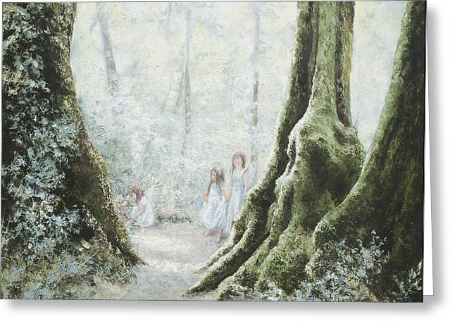 Mythical Landscape Greeting Cards - Angels in the mist Greeting Card by Jan Matson