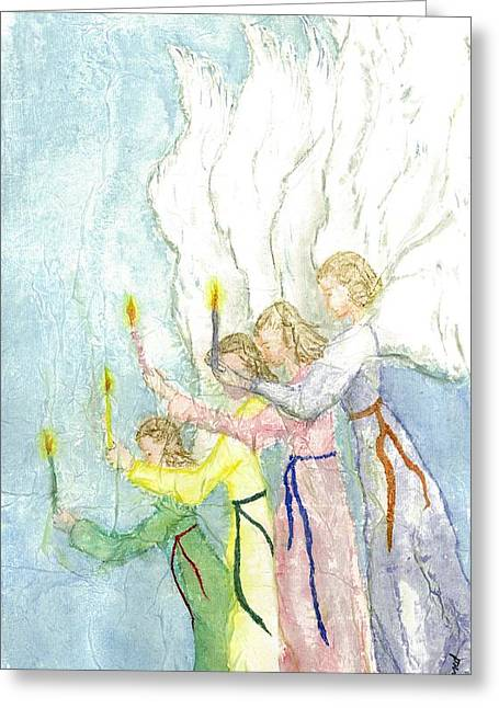 Angels Greeting Card by Jeanne Hyland-Curtin