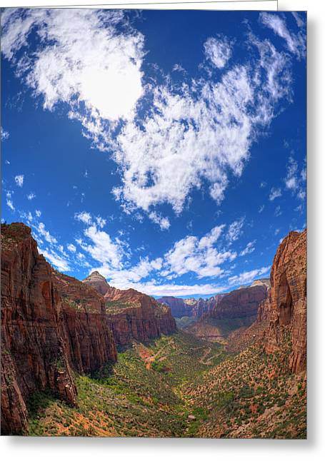 Zion Park Greeting Cards - Angels Landing Greeting Card by Alexey Stiop