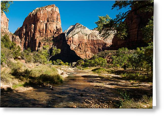 Geobob Greeting Cards - Angels Landing and Virgin River Zion National Park Utah Greeting Card by Robert Ford