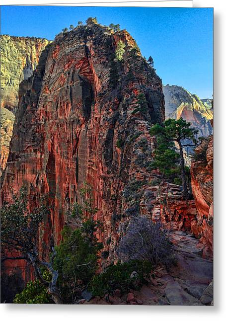 Hike Greeting Cards - Angels Landing Greeting Card by Chad Dutson