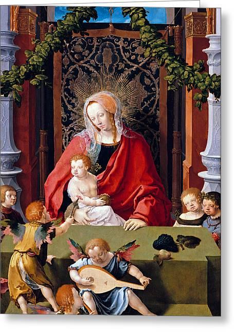 Christus Greeting Cards - Angels Meeting Jesus Greeting Card by Munir Alawi