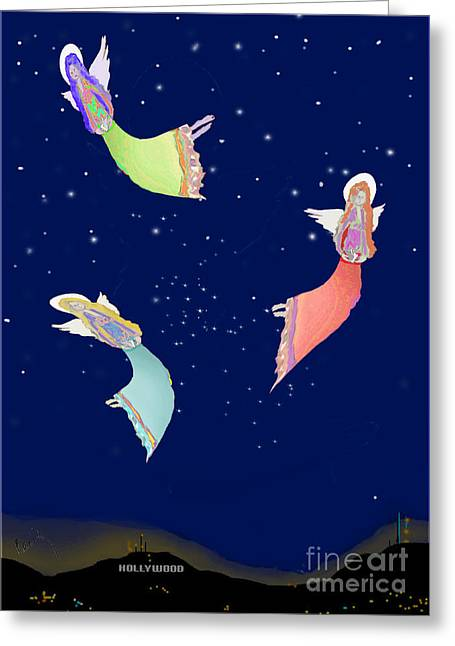 Night Angel Greeting Cards - Angels of Los Angeles Greeting Card by Cecily Mitchell