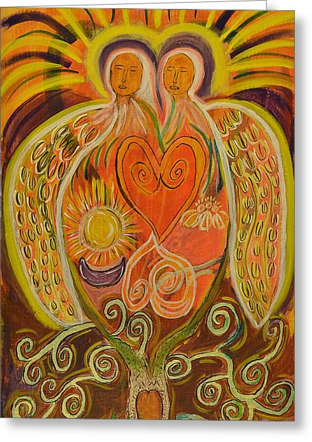 Orange And Brown Wings Paintings Greeting Cards - Angels of Love and Light ni Greeting Card by Kathryn Bonner