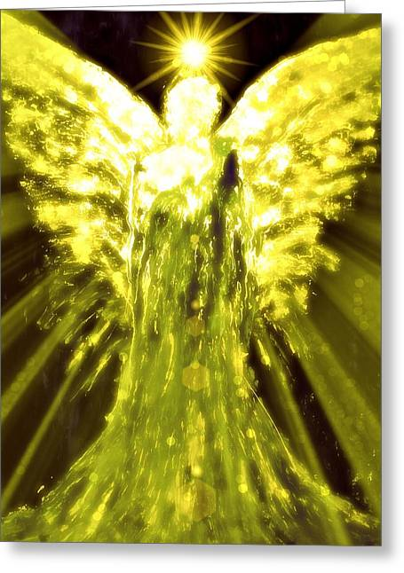 Divine Spark Greeting Cards - Angels of the Golden Light Anscension II Greeting Card by Alma Yamazaki