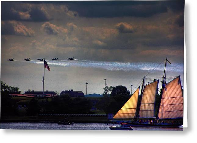Angel Blues Greeting Cards - Angels Over Ft. McHenry Greeting Card by Robert McCubbin