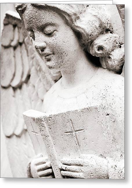 Woman Head Sculpture Greeting Cards - Angels Prayers and Miracles Greeting Card by Trish Mistric