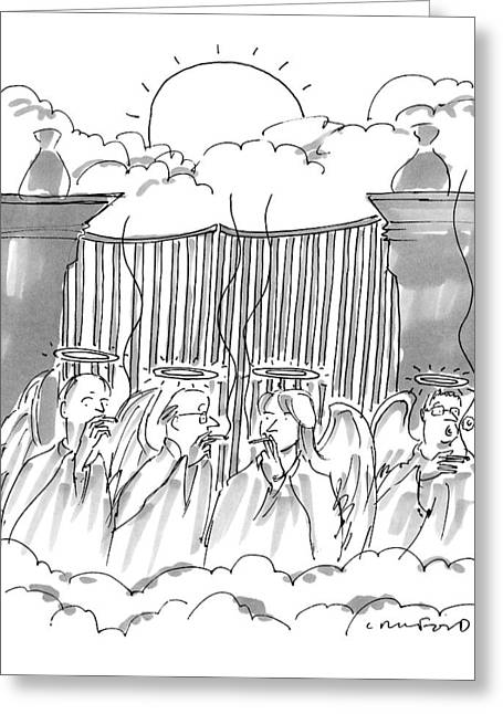 Angels Smoking Outside Of The Gates Of Heaven Greeting Card by Michael Crawford