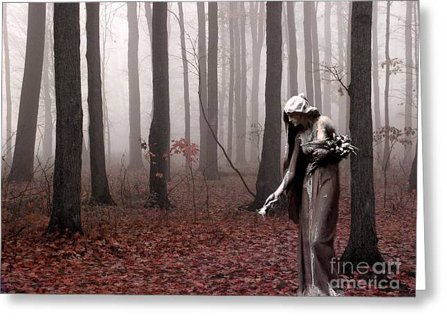 Gothic Surreal Greeting Cards - Angels Surreal Fantasy Female Figure In Woodlands Nature Haunting Landscape  Greeting Card by Kathy Fornal