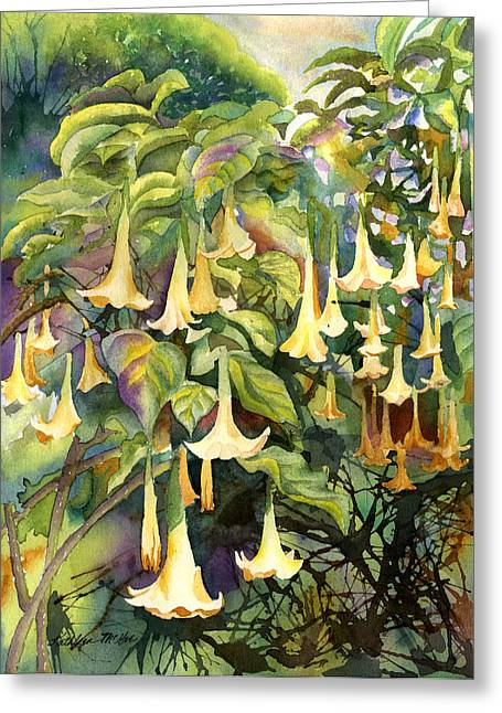 Datura Paintings Greeting Cards - Angels Trumpet Greeting Card by Kathleen McGee