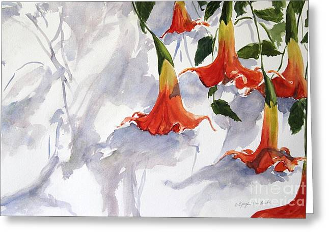 Datura Paintings Greeting Cards - Angels Trumpet Greeting Card by Kyong Burke