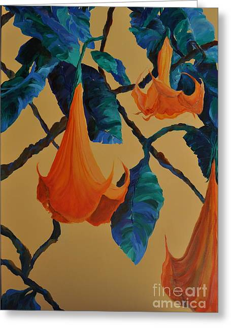 Blues Trumpet Greeting Cards - Angels Trumpet Song Greeting Card by Lynn Rattray