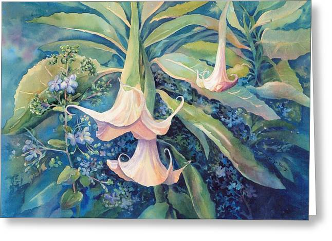 Night Angel Greeting Cards - Angels Trumpets II Greeting Card by Marilyn Young