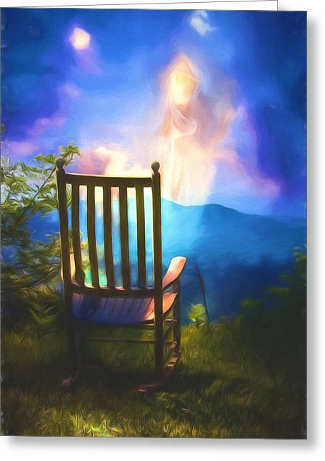 Angels Watching Over Me Greeting Card by John Haldane