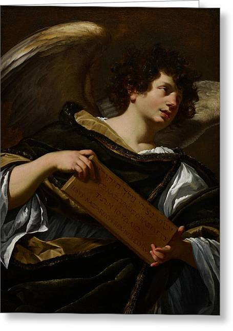 Script Greeting Cards - Angels with Attributes of the Passion Greeting Card by Simon Vouet