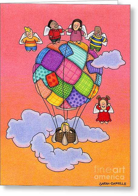 Recently Sold -  - Seraphim Angel Greeting Cards - Angels With Hot Air Balloon Greeting Card by Sarah Batalka