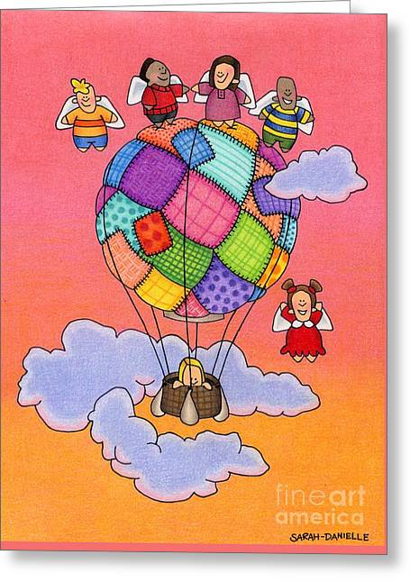 Angels With Hot Air Balloon Greeting Card by Sarah Batalka