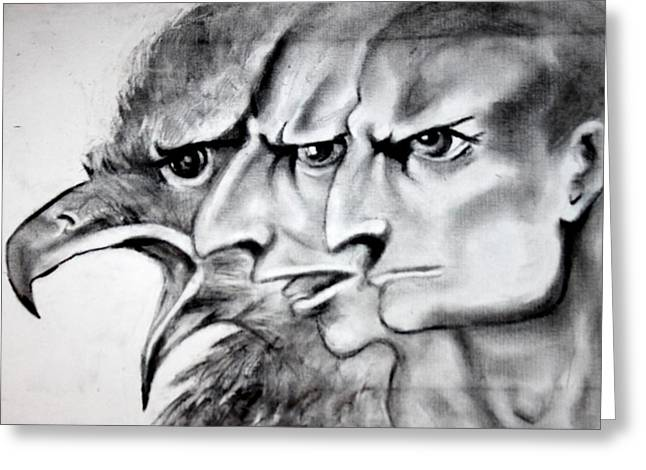 Anger Drawings Greeting Cards - Anger 1 Greeting Card by Fatimah AL-khtani