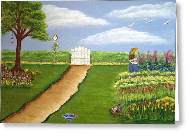 House With Gate Greeting Cards - Angies Garden Greeting Card by Karen Pasquariello