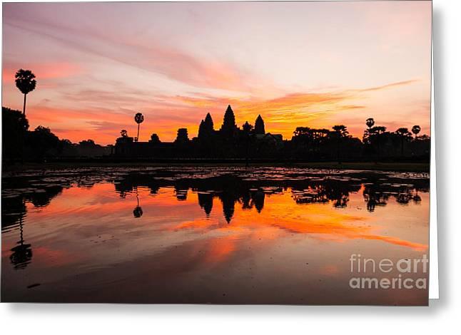 Fototrav Print Greeting Cards - Angkor Wat at Sunrise Cambodia Greeting Card by Fototrav Print