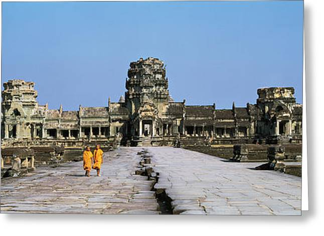 Buddhist Monks Greeting Cards - Angkor Wat Cambodia Greeting Card by Panoramic Images