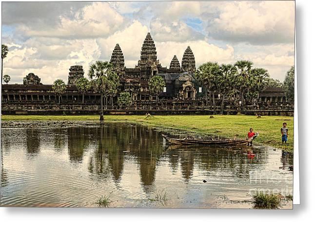 Ancient Ruins Greeting Cards - Angkor Wat I Greeting Card by Chuck Kuhn