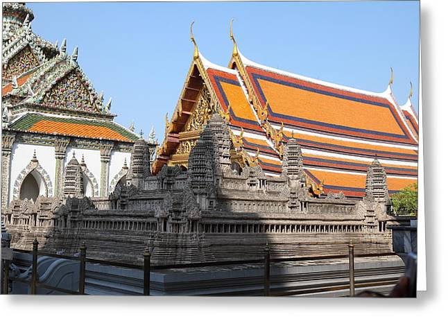 Model Photographs Greeting Cards - Angkor Wat model - Grand Palace in Bangkok Thailand - 01131 Greeting Card by DC Photographer