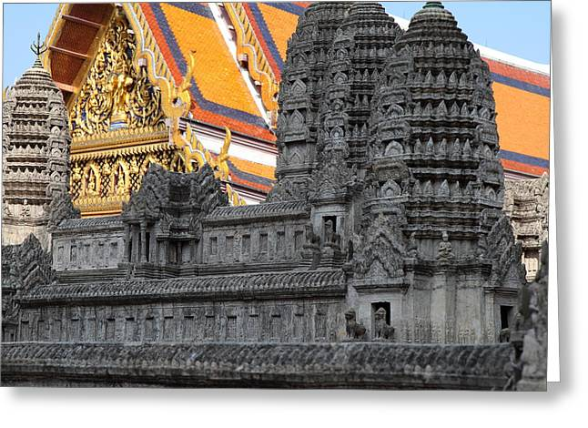 Model Photographs Greeting Cards - Angkor Wat model - Grand Palace in Bangkok Thailand - 01132 Greeting Card by DC Photographer