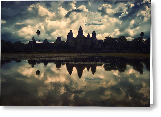 Angkor Wat Sunset Greeting Card by Kim Andelkovic