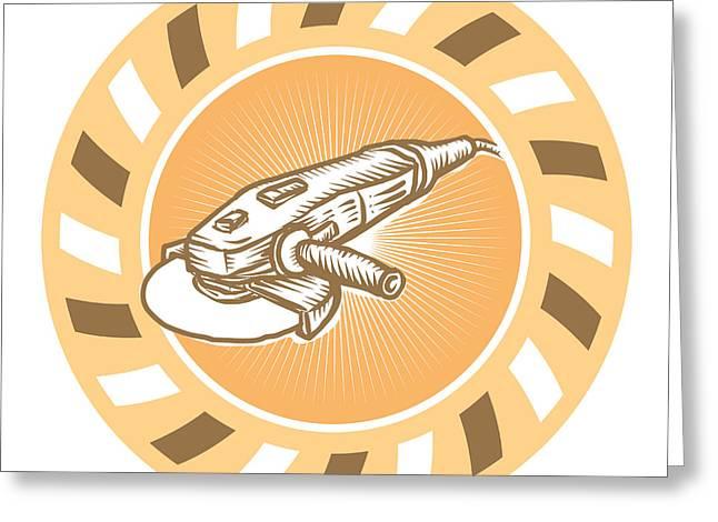 Angle Grinder Power Tool Woodcut Retro Greeting Card by Aloysius Patrimonio