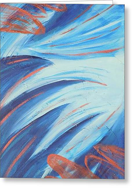 Angel Blues Greeting Cards - Angle Wings Greeting Card by Deborah Brown Maher