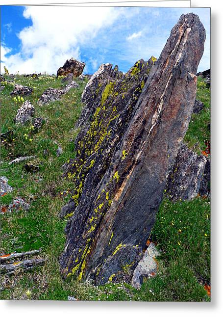 Mummy Range Greeting Cards - Angled Rocks with Lichen Greeting Card by Tranquil Light  Photography