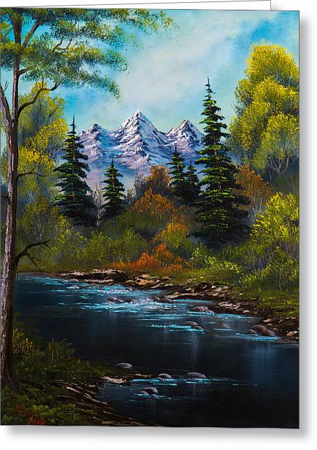 Bob Ross Paintings Greeting Cards - Fishermans Retreat Greeting Card by C Steele