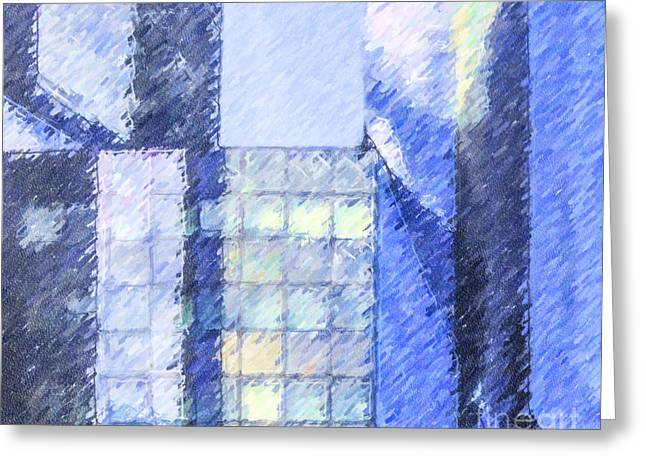 France Greeting Cards - Angles of Blue Greeting Card by Liz Leyden