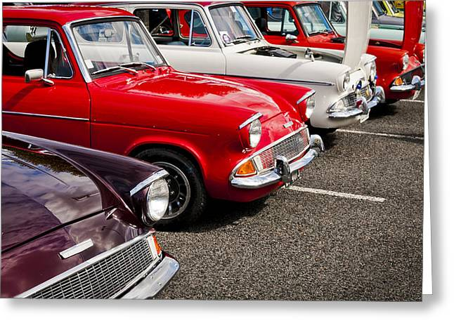 Blue Oval Greeting Cards - Anglia Club Greeting Card by motography aka Phil Clark