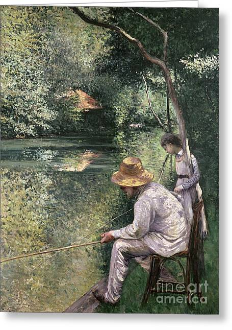 Edge Greeting Cards - Angling Greeting Card by Gustave Caillebotte
