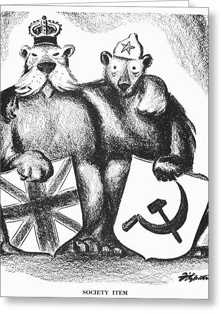 Bear Cartoon Greeting Cards - Anglo-soviet Alliance, 1941 Greeting Card by Granger