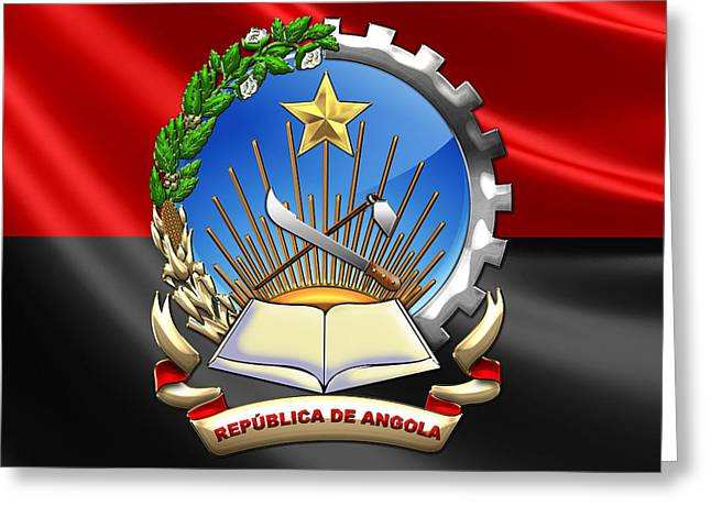 Rep Greeting Cards - Angola - Coat of Arms over Angolan Flag Greeting Card by Serge Averbukh