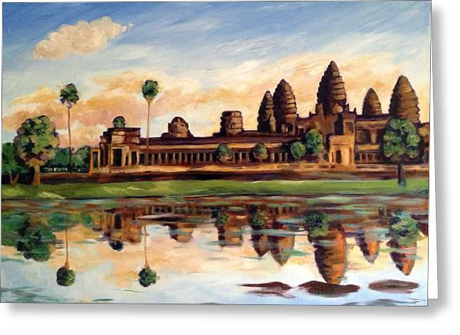 Visionary Artist Greeting Cards - Angor Wat Long View Greeting Card by Susan Tower