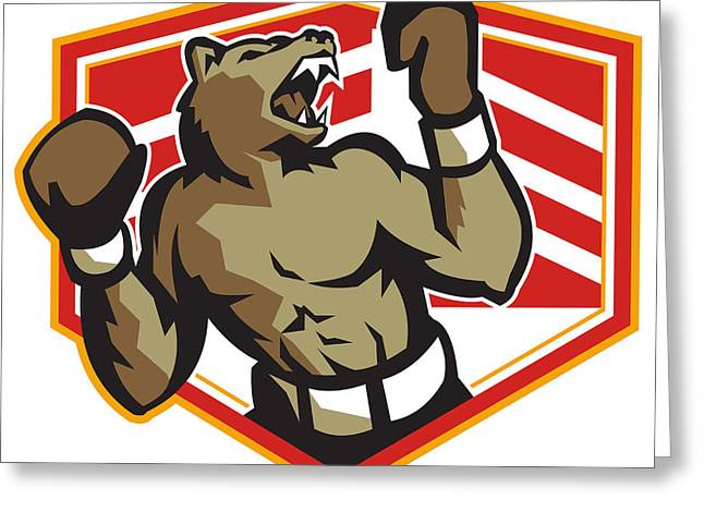 Angry Bear Boxer Boxing Retro Greeting Card by Aloysius Patrimonio