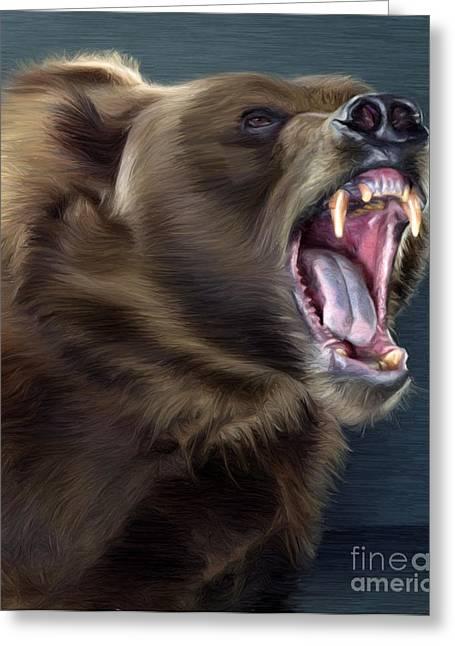 Kodiak Digital Art Greeting Cards - Angry Brown Bear Greeting Card by Aleksey Tugolukov