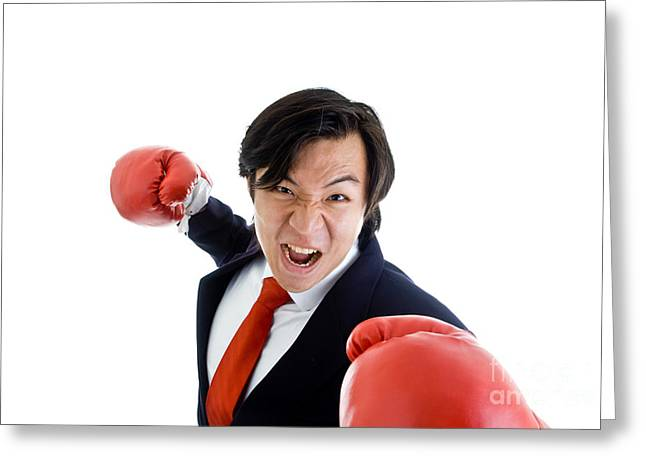 Anger And Hostility Greeting Cards - Angry Business Man Greeting Card by Jim Pruitt