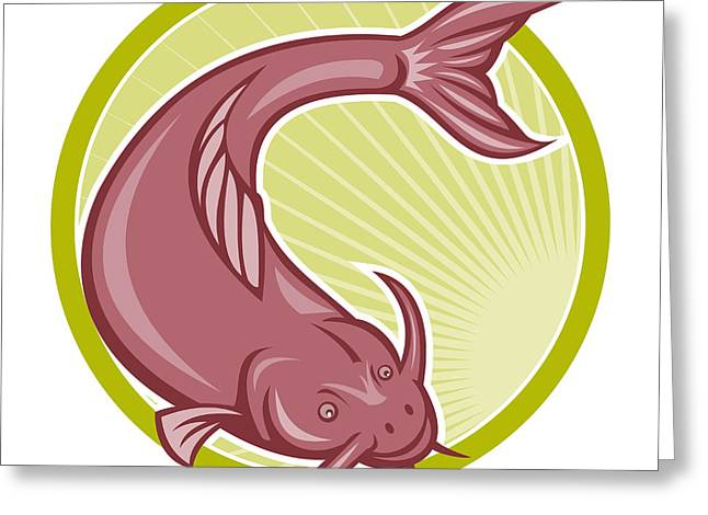 Catfish Digital Greeting Cards - Angry Catfish Diving Down Cartoon Greeting Card by Aloysius Patrimonio