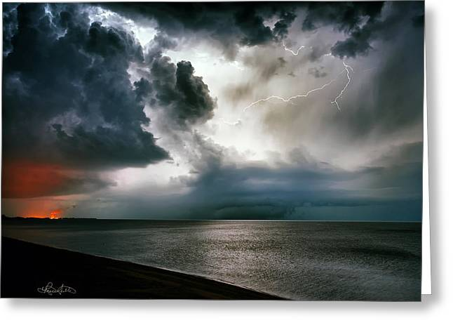 Power Plants Greeting Cards - Angry Heavens Greeting Card by Renee Sullivan