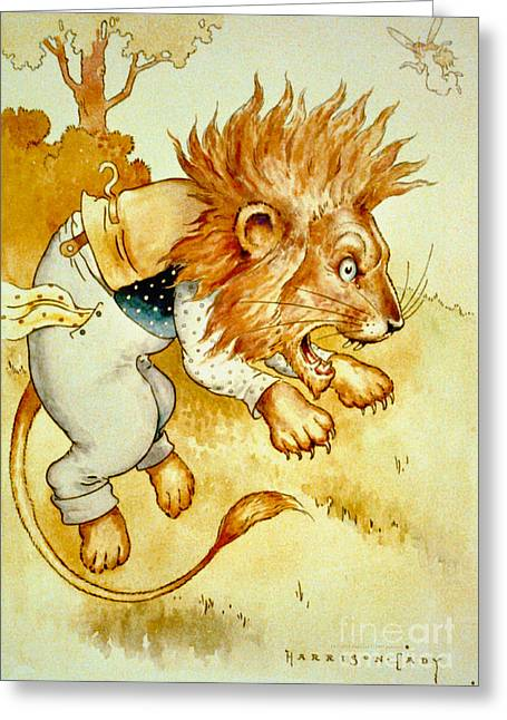 1907 Drawings Greeting Cards - Angry Lion 1907 Greeting Card by Padre Art